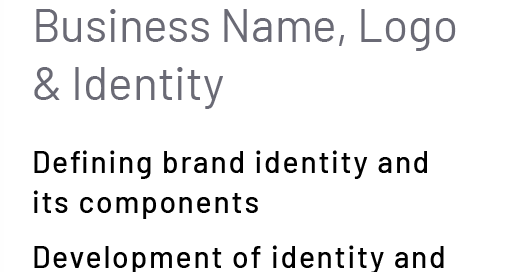 Business Name, Logo & Identity